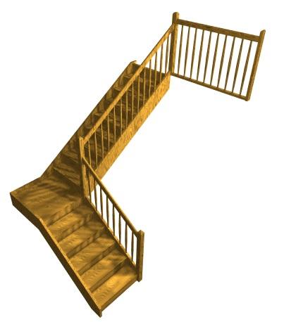 Dvojramenné  pravouhlé schodisko, pravotočivé