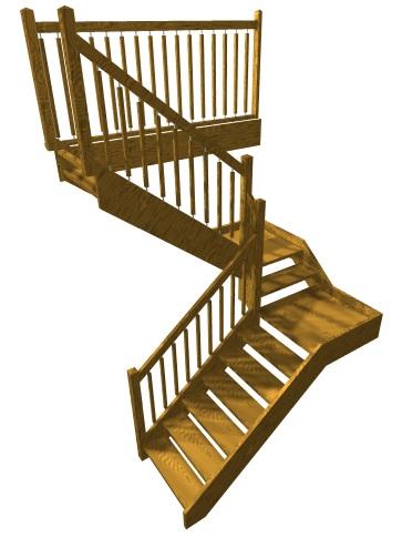 Dvojramenné  pravouhlé schodisko s dvoma medzipodestami, ľavotočivé